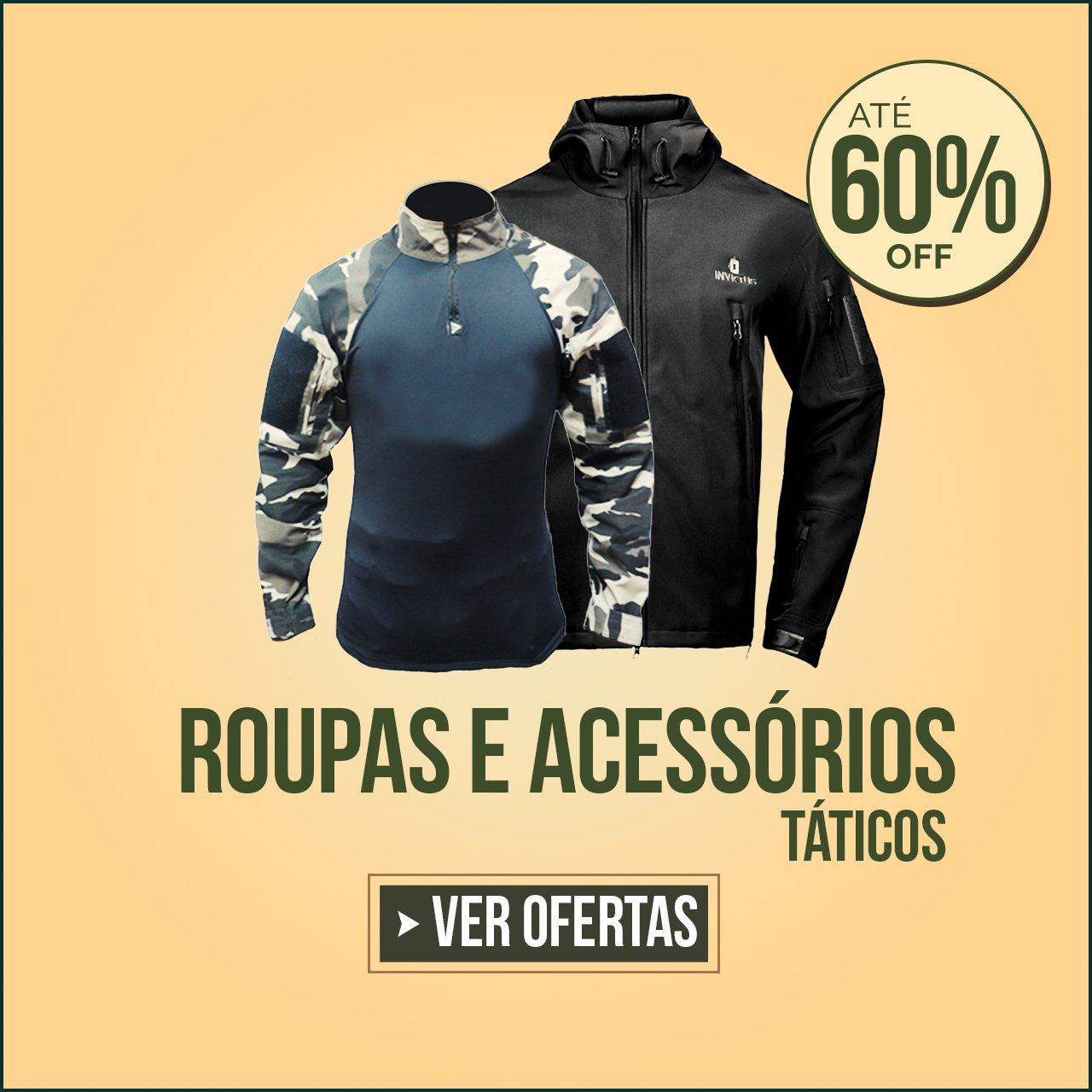 ROUPAS E ACESSÓRIOS TÁTICOS COM ATÉ 60% OFF