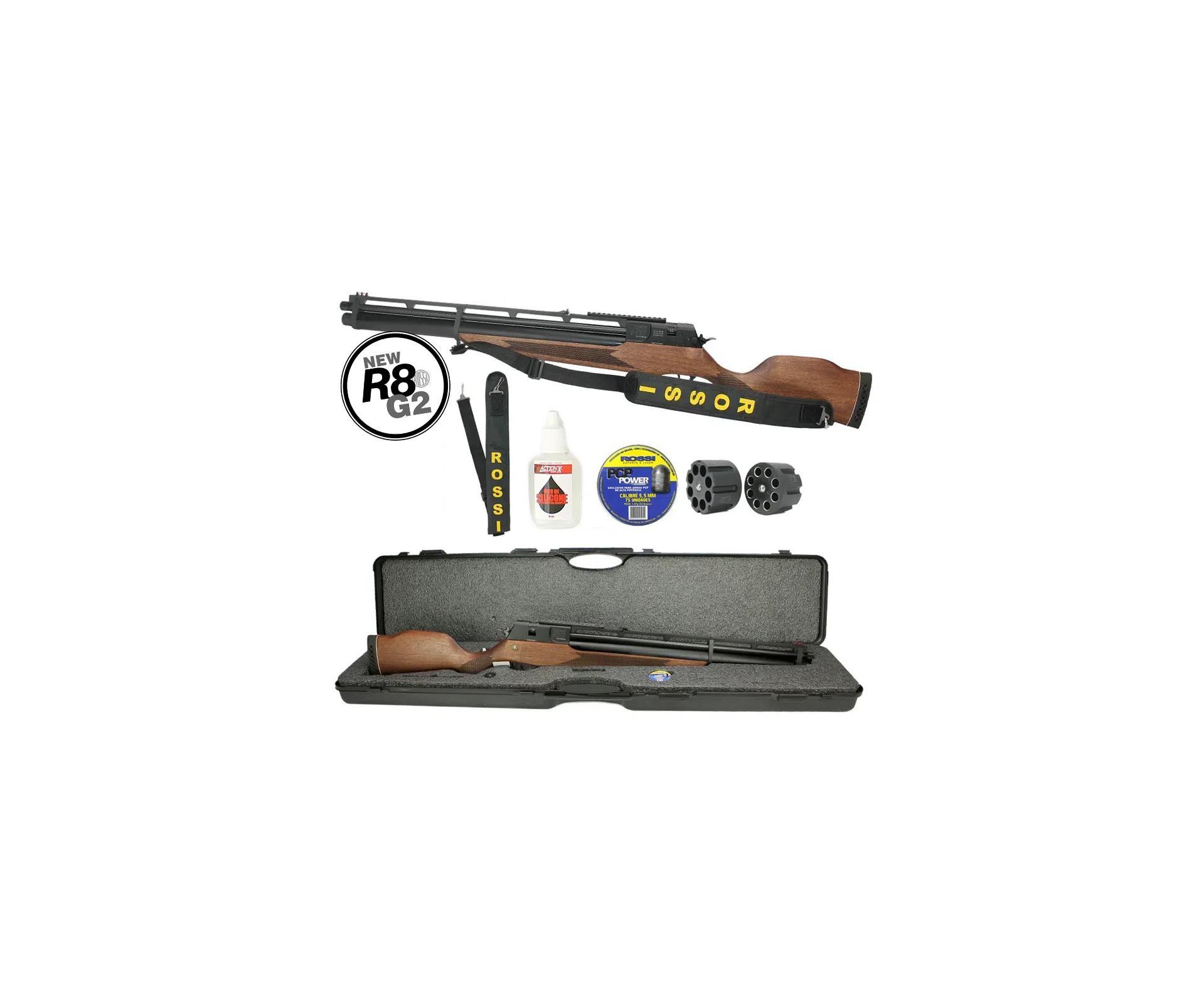 Carabina De Pressão Pcp Rossi R8 5,5mm 8 Tiros 350 M/s