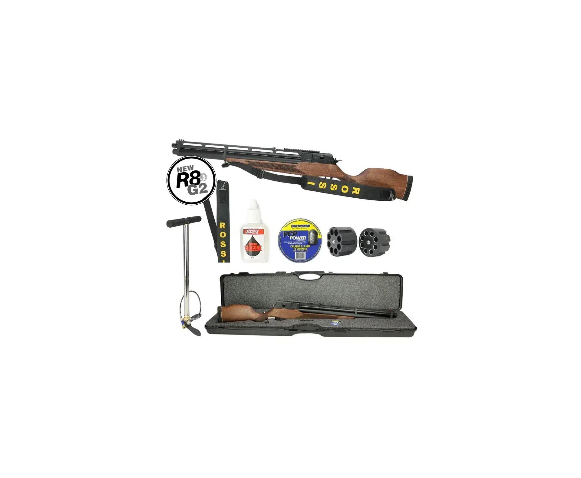 Carabina De Pressão Pcp Rossi R8 8 Tiros 5,5mm 350 M/s + Bomba Hand Pump