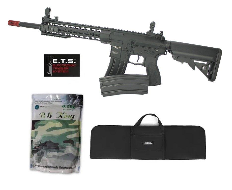 "Rifle De Airsoft Ar15 Neptune Full Metal Keymod 10"" Gatilho Et Elet 6mm Rossi + Capa Case + 4000bbs 0,20g"