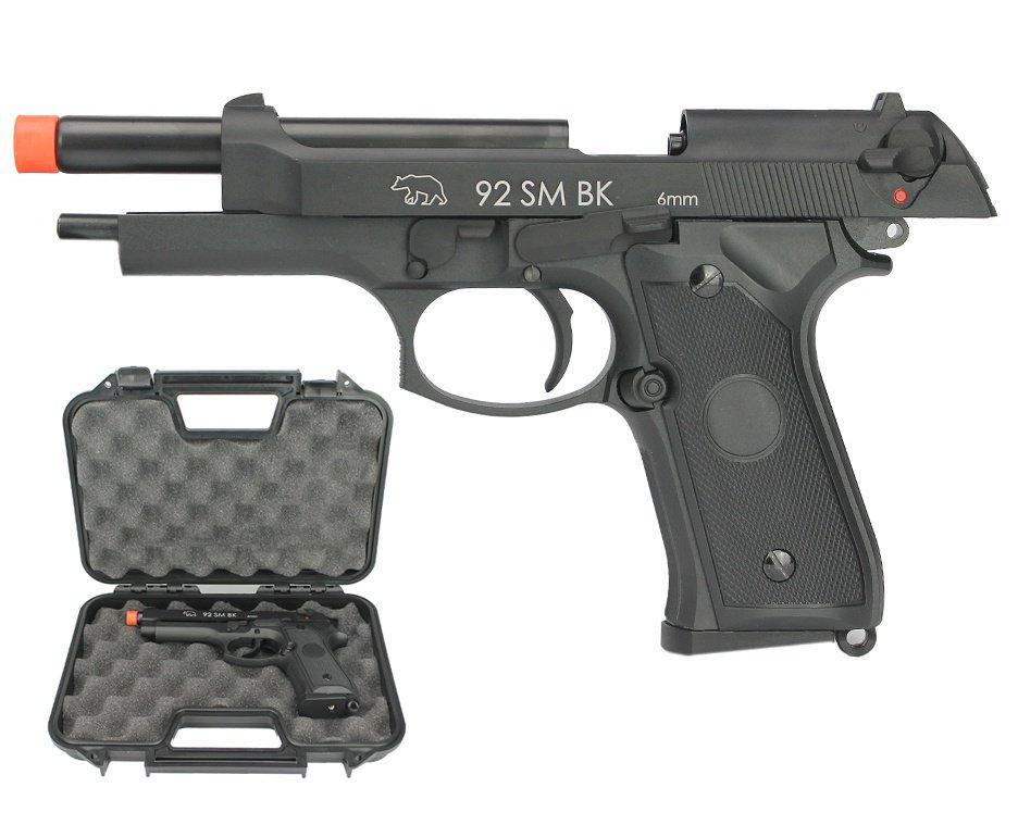 Pistola de Airsoft GBB gás Green Gás M92 A1 Slide Metal Blowback 6mm + Case - QGK