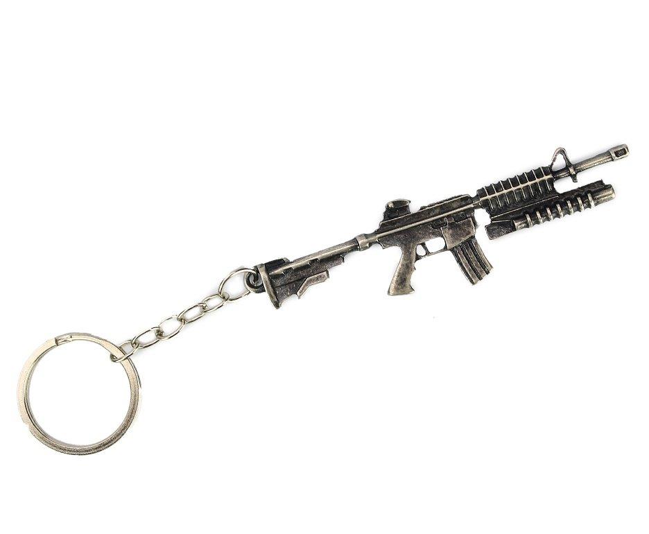 Chaveiro Metal Rifle M16 Prata Envelhecido