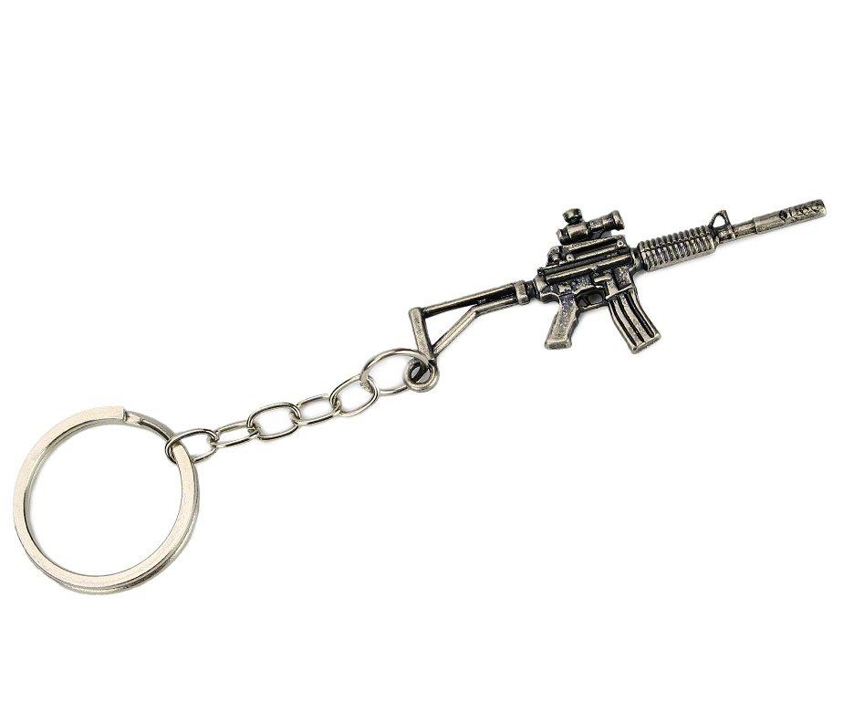 Chaveiro Rifle M4 Metal Prata Envelhecido