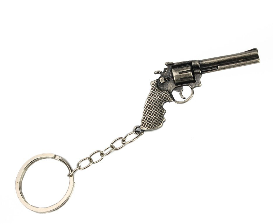 Chaveiro Metal Prata Envelhecido Revolver