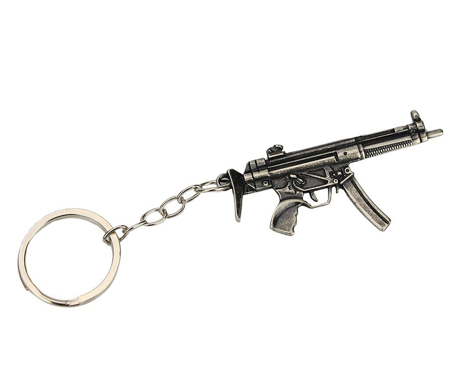 Chaveiro Metal Prata Envelhecido Rifle MP5