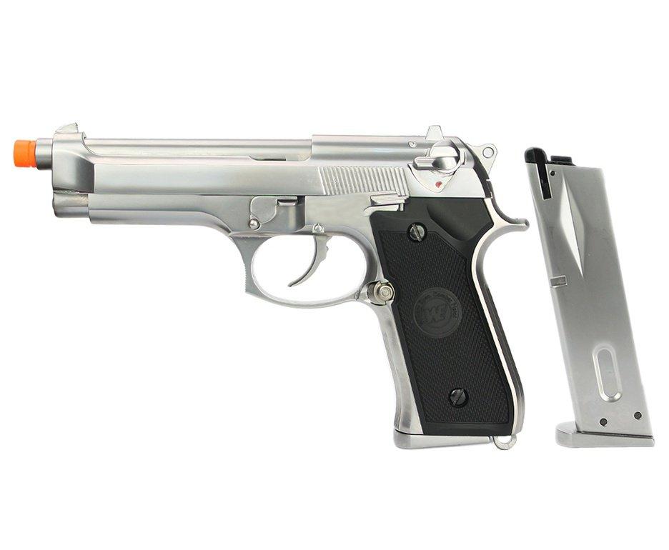 Pistola de Airsoft WE Gás GBB M92 Full Metal Blowback Cromada 6mm