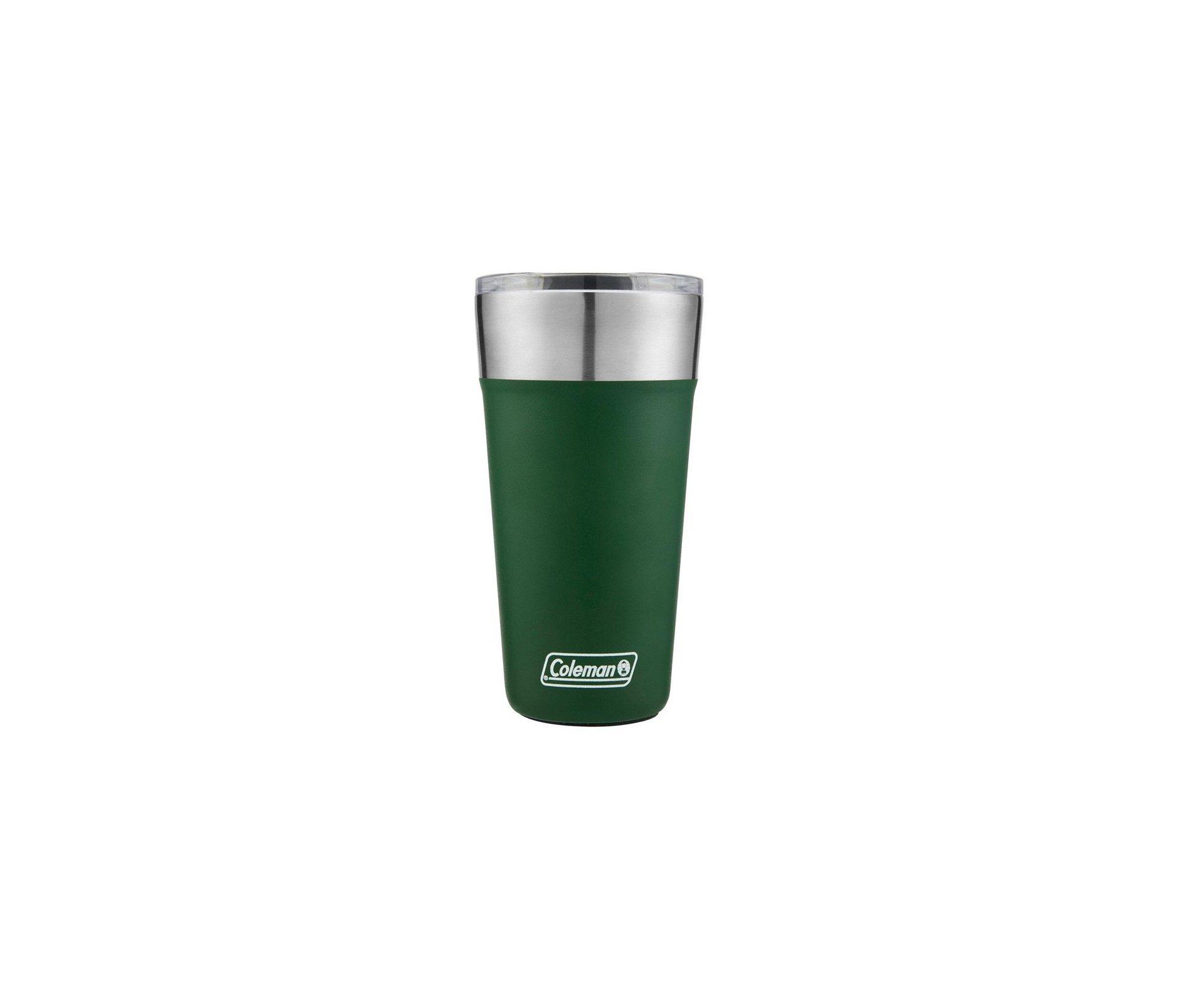 Copo Térmico para Cerveja Coleman Tumbler Verde/Inox Com Tampa e Abridor  600 Ml