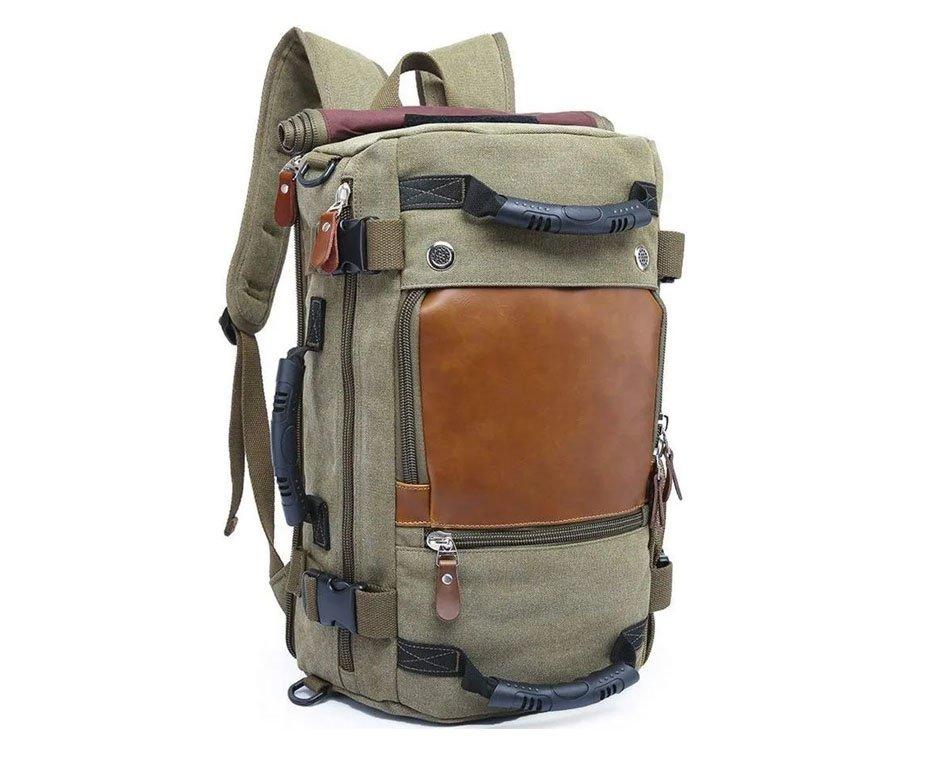 Mochila Kaka® Notebook Multifuncional Lona e Couro Legítimo - Verde Militar