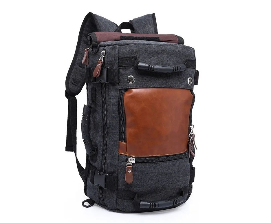 Mochila Kaka® Notebook Multifuncional Lona e Couro Legítimo - Preta