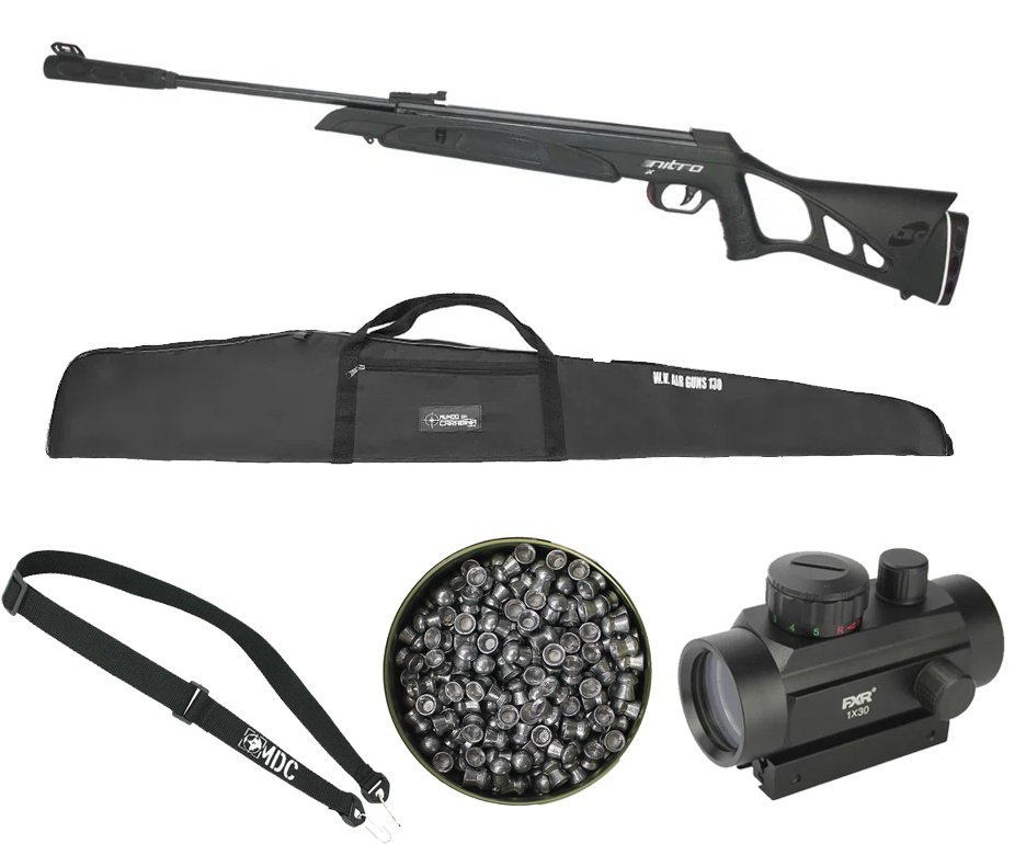 Carabina de Pressão CBC Nitro-X 1000 6.35mm Oxidada + Red Dot + Chumbo + Capa