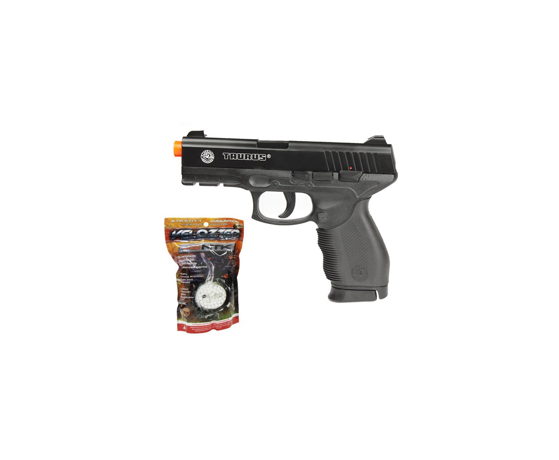 Pistola De Airsoft Taurus Pt 24/7 Semi/metal Cal 6,0 Mm + 2000 Esfera 0,12g - Cyber Gun