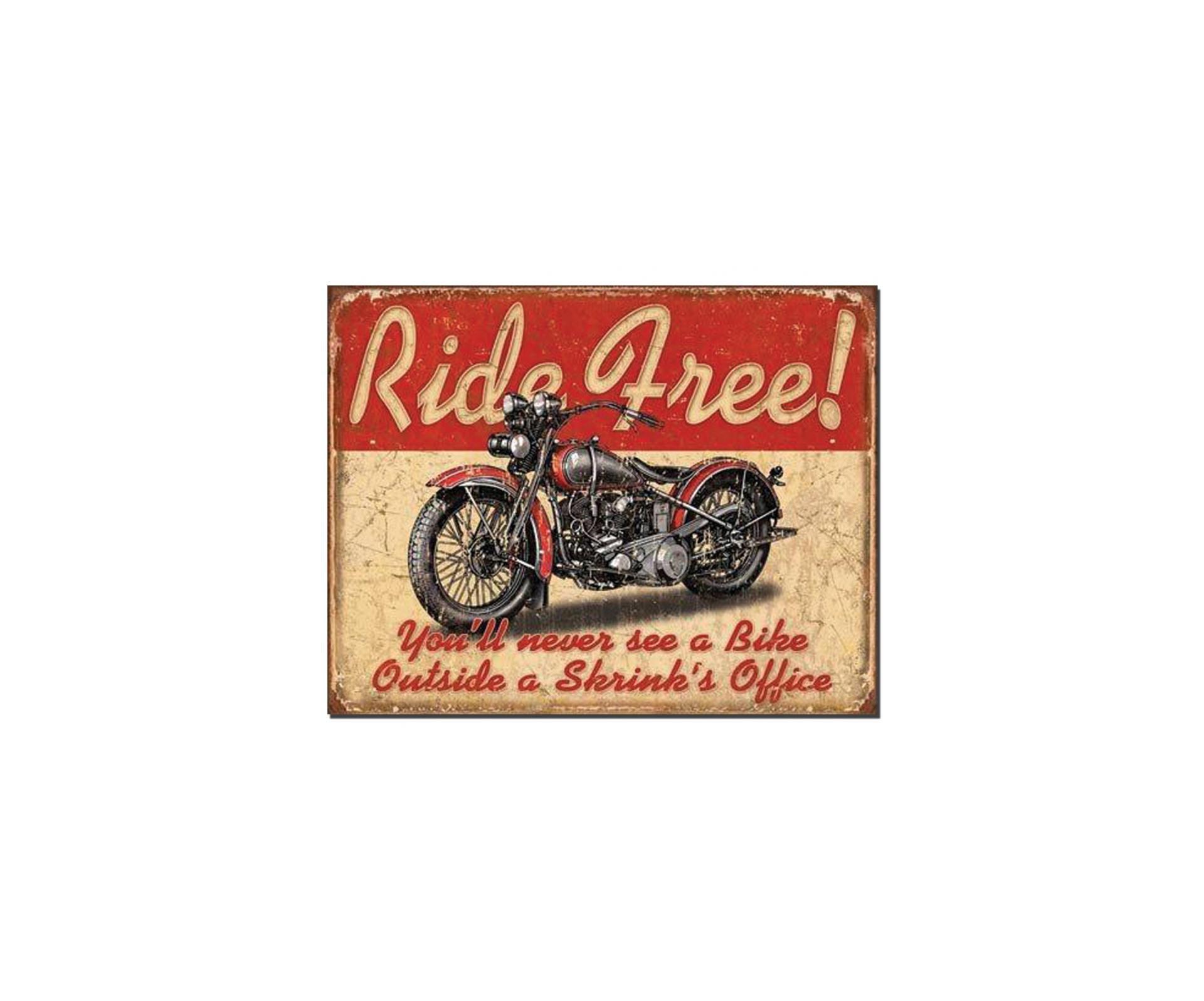 Placa Metálica Decorativa Ride Free - Rossi