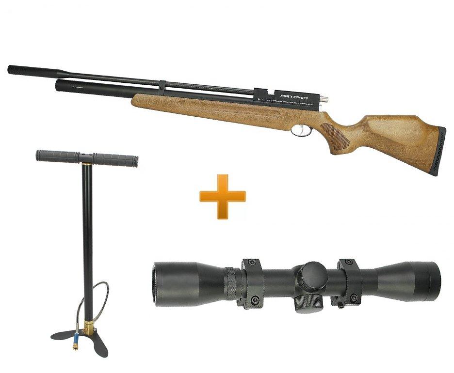 Carabina De Pressão Pcp M11 Madeira Ar+ Spa 5.5mm + Luneta 4x32 + Bomba Manual