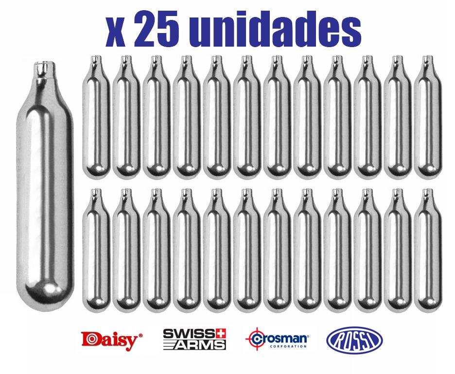 Kit Co2 Rossi/daisy/crosman/swiss Arms 12g Para Pistolas E Rifles Caixa Com 25unds
