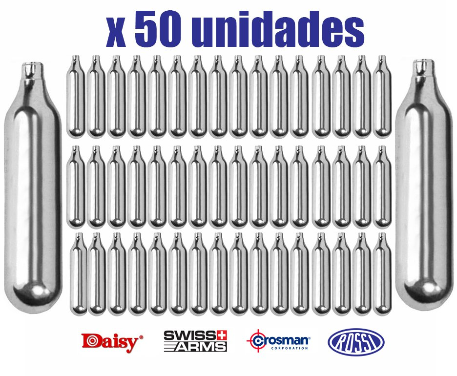 Kit Co2 Rossi/daisy/crosman/swiss Arms 12g Para Pistolas E Rifles Caixa Com 50unds