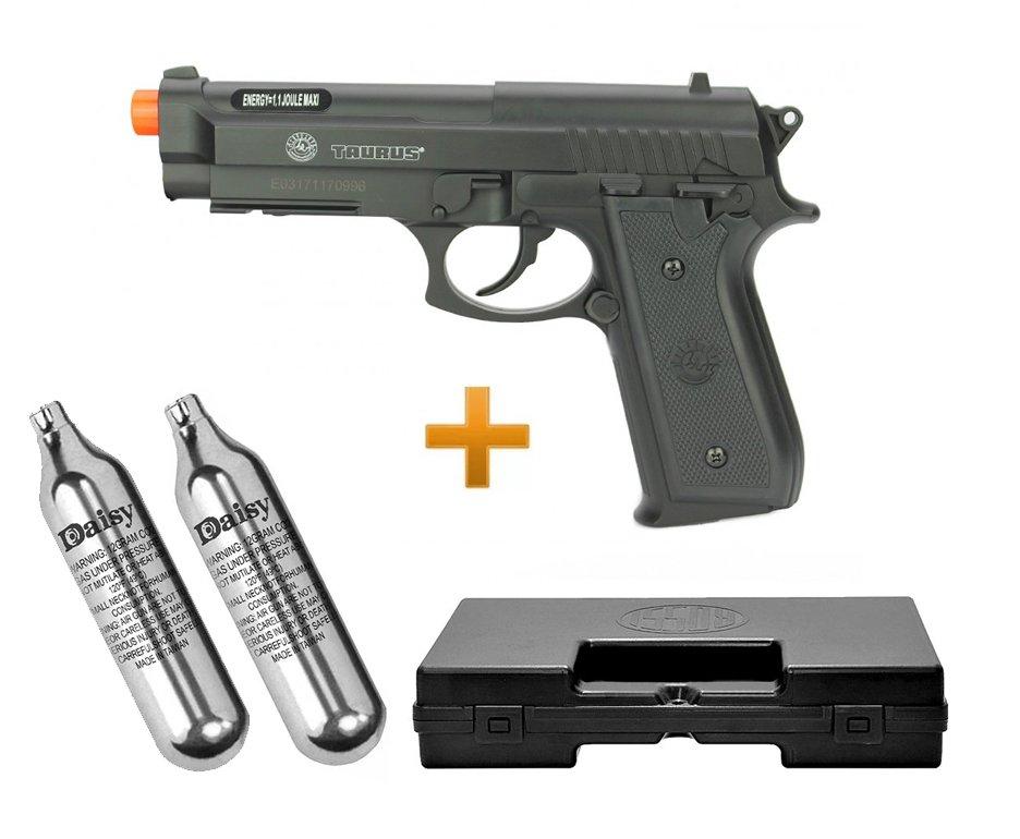 Pistola De Airsoft Co2 Taurus Pt92 Preta 6mm Cybergun + 02 Cilndro Co2 12g + Maleta