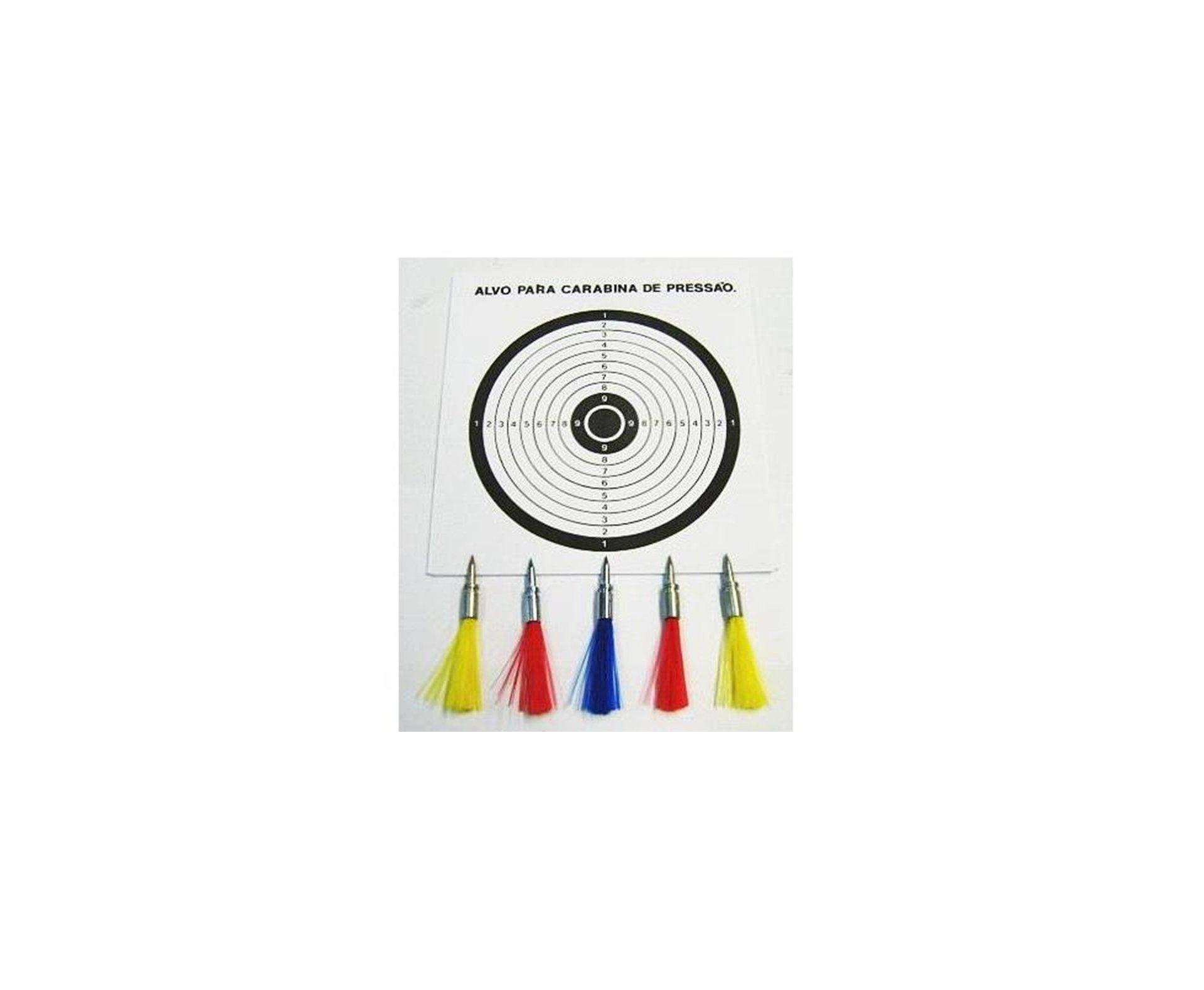 Setas Coloridas Cal 5,5mm (com 5 Dardos E 3 Alvos)