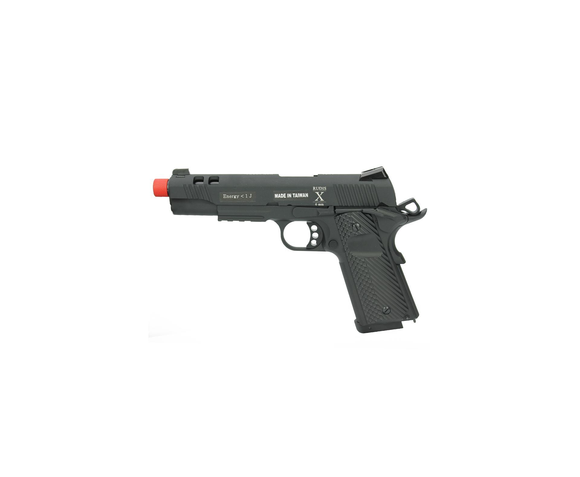 Pistola De Airsoft Gas Co2 Secutor Rudis X Acta Full Metal Com Blowback Cal 6mm