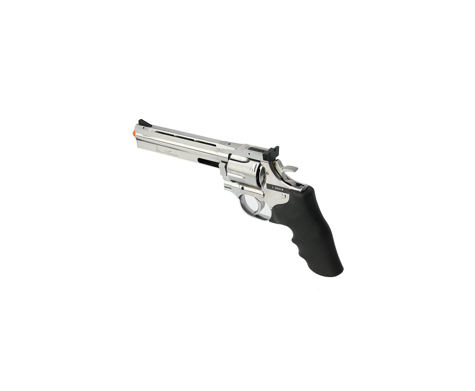 "Revolver De Airsoft Co2 Full Metal Dan Weson 715 6"" Inox Low Power Silver 6,0mm Asg"