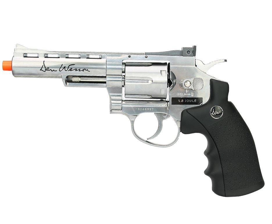 """Revólver De Airsoft Co2 Inox Dan Wesson 4"""" Full Metal 6 Tiros Cal 6mm"""