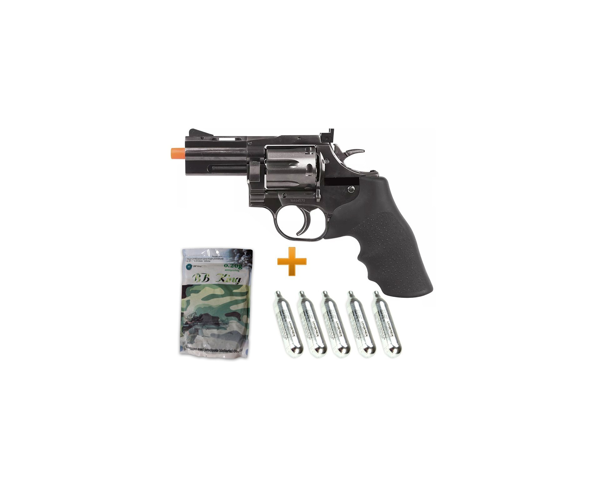 "Revólver De Airsoft Full Metal Co2 Dan Weson 715 2,5"" 6,0mm Asg + 05 Co2 + Bbs 0,20g"