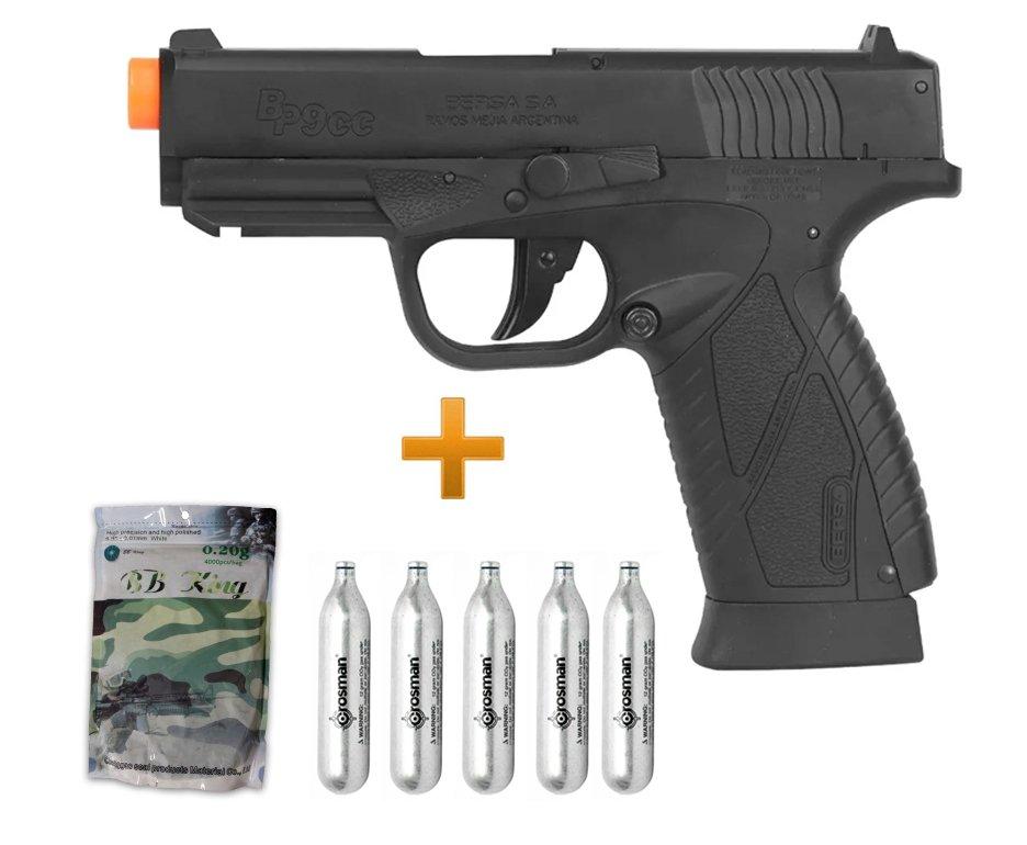 Pistola De Airsoft Co2 Asg Bersa Bp9cc Slide Metal 6mm + 05 Co2 + Bbs 0,20g