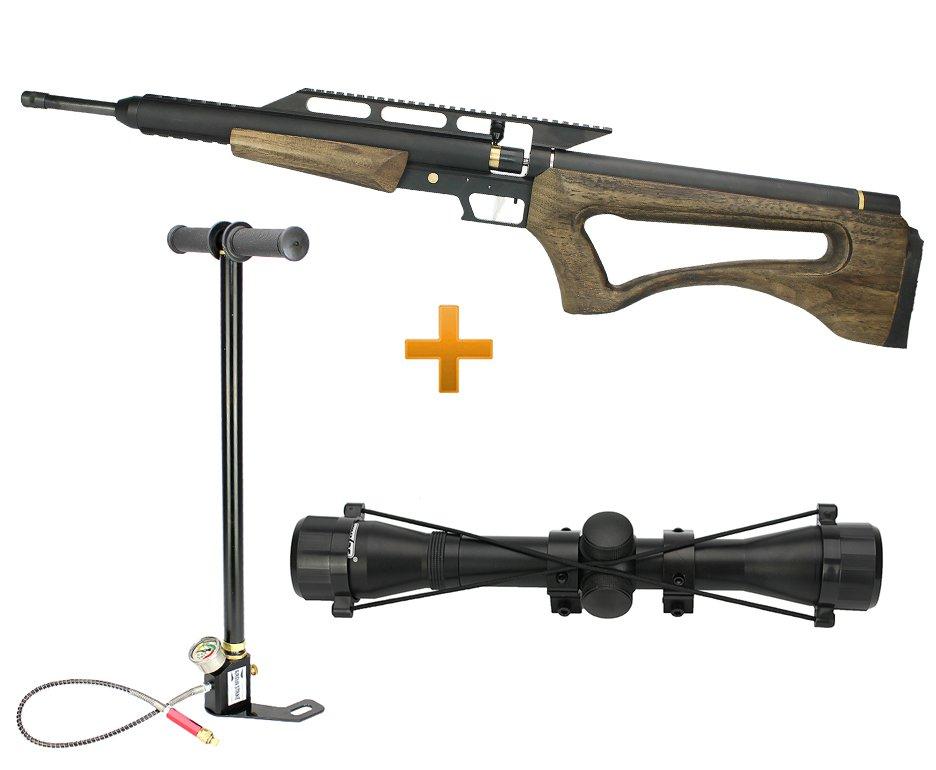 Carabina De Pressão Pcp Hunter Ultra Power Wood Cal 5,5mm + Bomba Pcp + Luneta 4x32