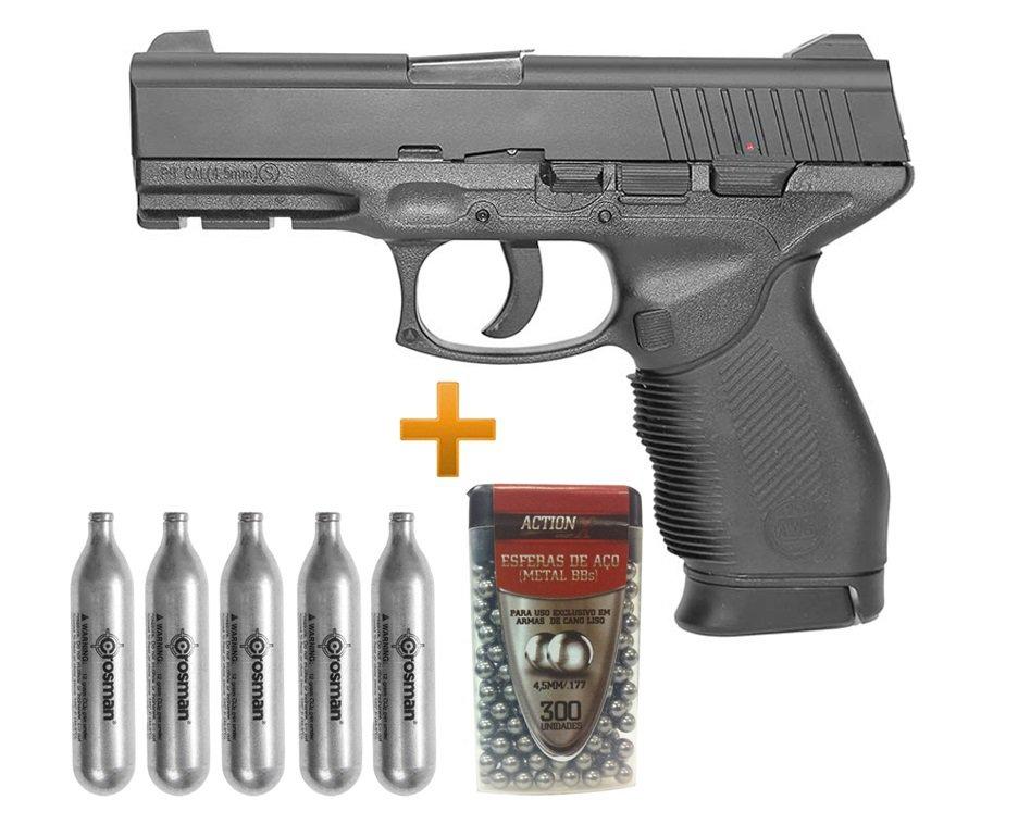 Pistola De Pressão Gas Co2 24/7 4,5mm Kwc + Co2 12g + Bbs Metalicas