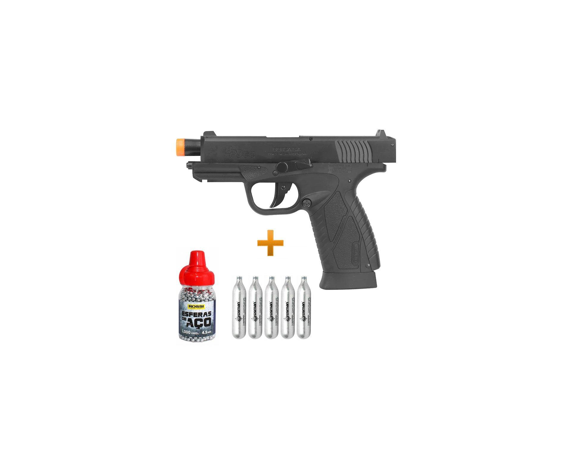 Pistola Pressão Co2 Asg Bersa Bp9cc Blowback 4,5 + Co2 12g + Esfera Aço