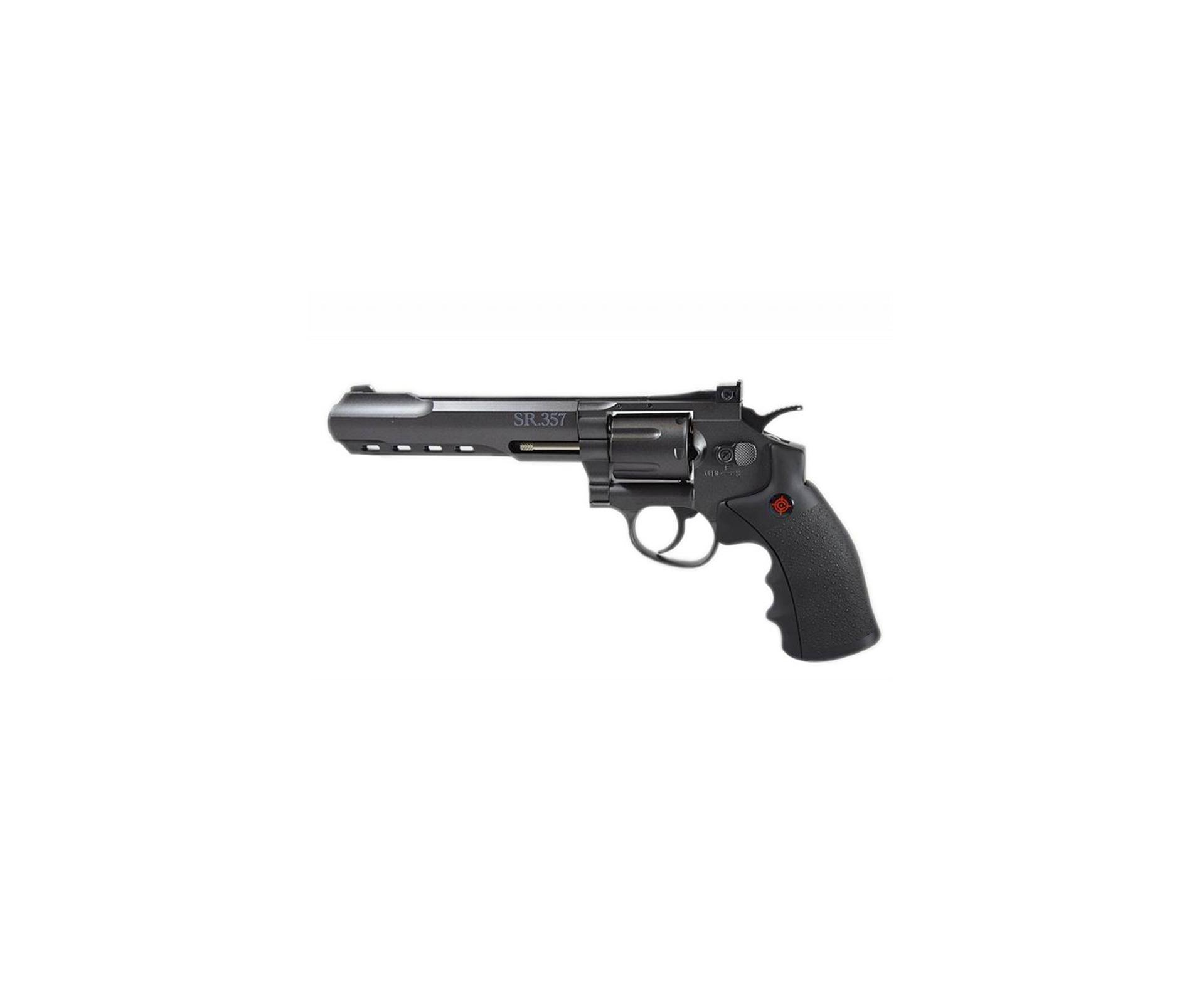 "Revolver De Pressão Gas Co2 Sr357 Black 6"" Full Metal Dual Ammo 6 Tiros 4,5mm Crosman"