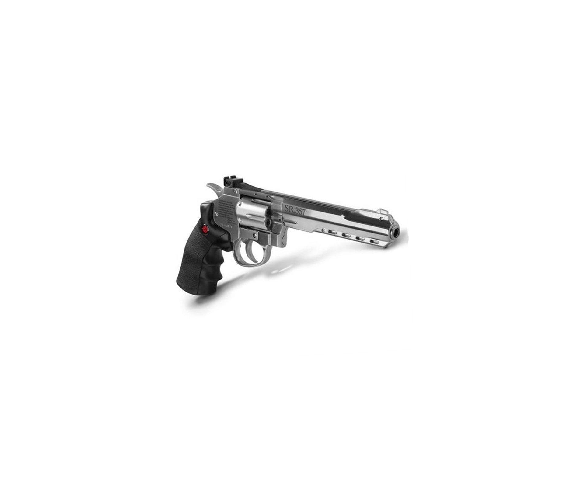 "Revolver De Pressão Gas Co2 Sr357 Silver 6"" Full Metal 6 Tiros 4,5mm Crosman"