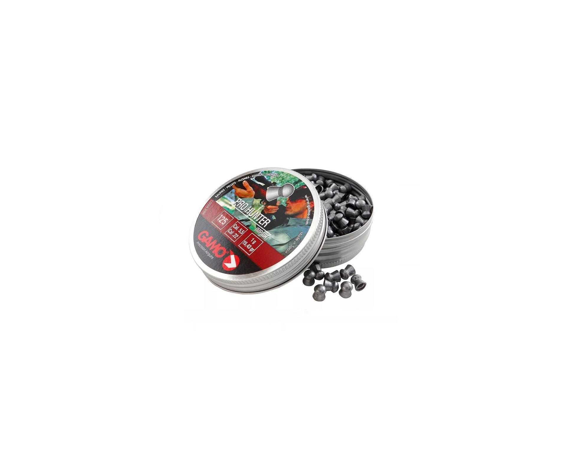 Chumbinho Gamo Pro Hunter 5,5mm Com 125und., Impacto, Precisão, Longa Distancia