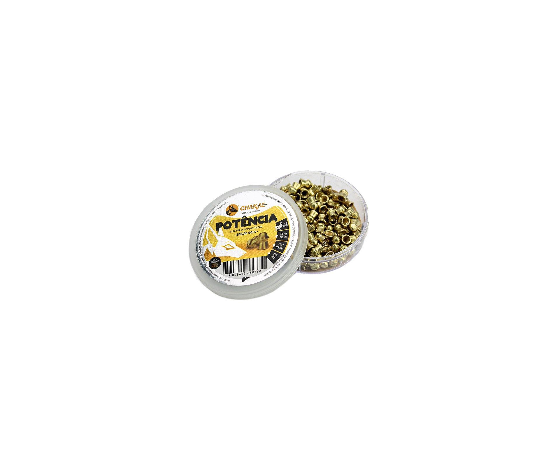 Chumbinho De Pressão Premium Potencia Latonado Gold 5,5mm