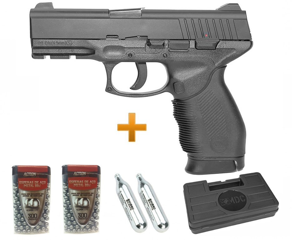Pistola De Pressão Gas Co2 24/7 4,5mm Kwc + Maleta + Bbs + Co2