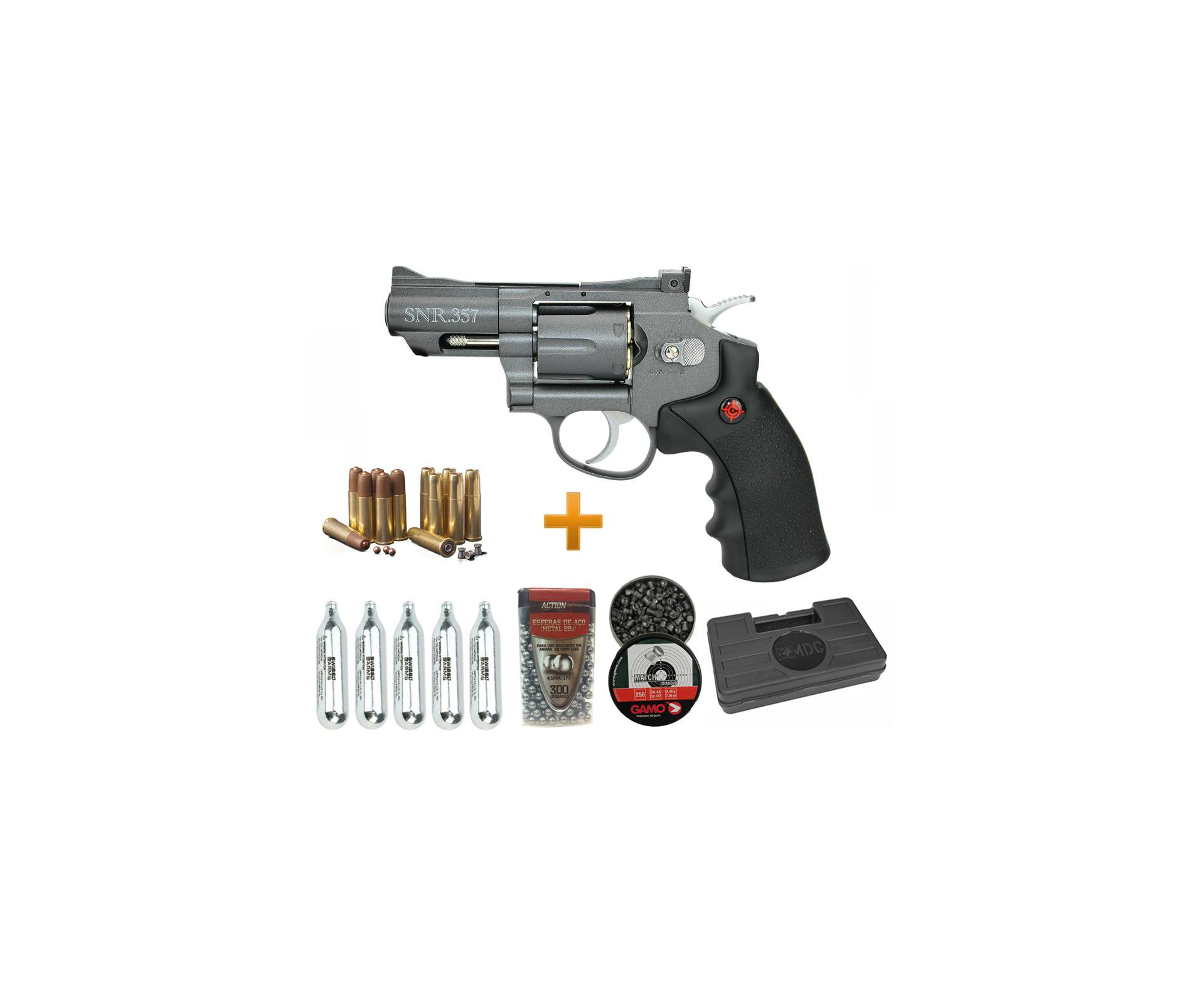 "Revolver Co2 Full Metal 2"" Cano Snr357 Cal 4,5mm Crosman + Maleta + Munição + Co2"