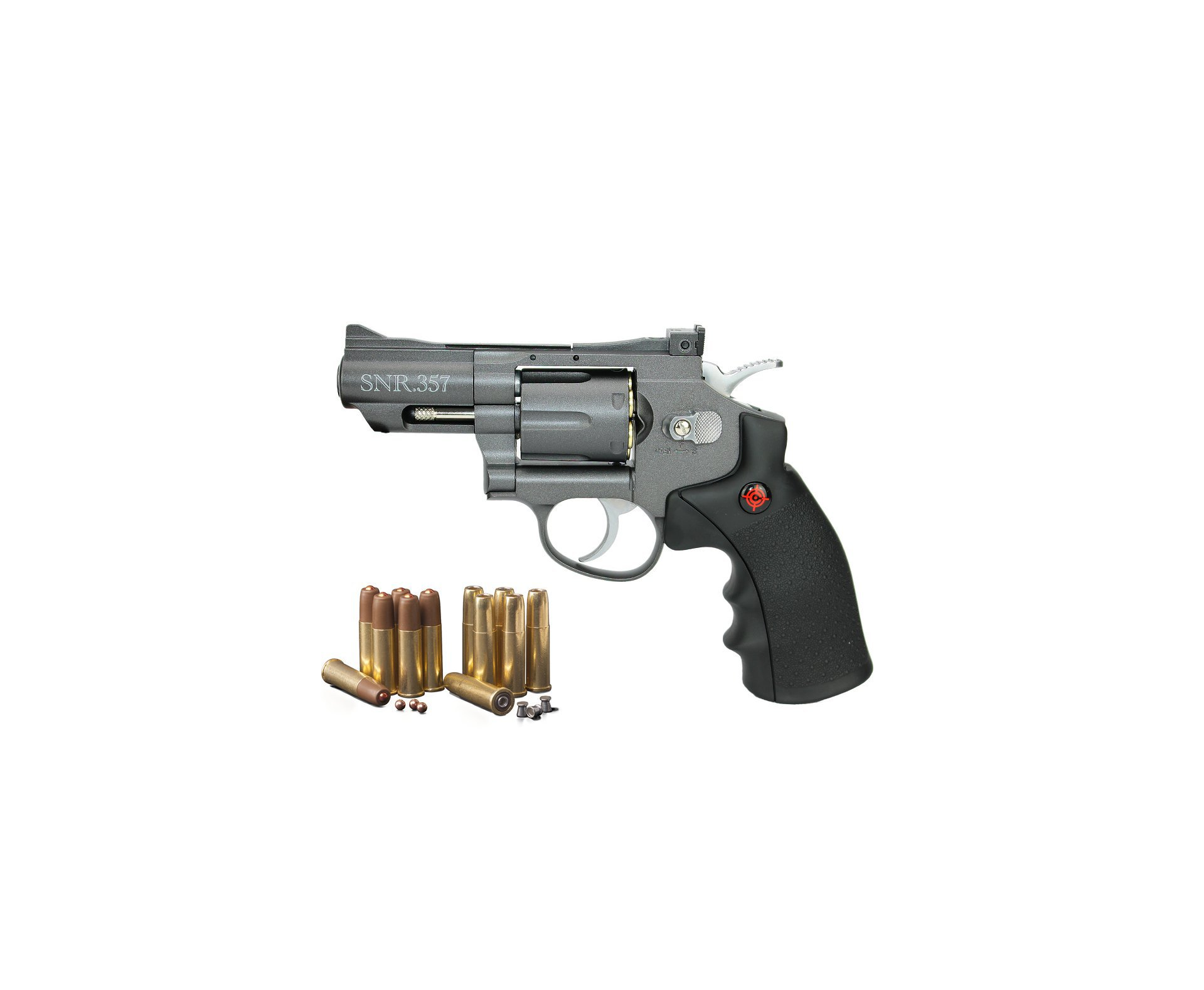 "Revolver Co2 Full Metal 2"" Cano Snr357 Cal 4,5mm Crosman + Maleta + Munição + Co2"