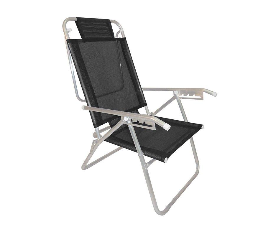 Cadeira Reclinavel Zaka Em Aluminio 5 Posições Infinita Up Preta