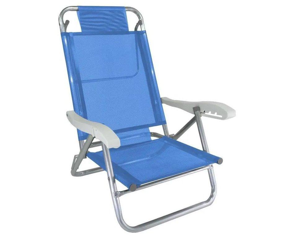 Cadeira Praia Em Aluminio Banho De Sol Azul Cap 120kg - Zaka