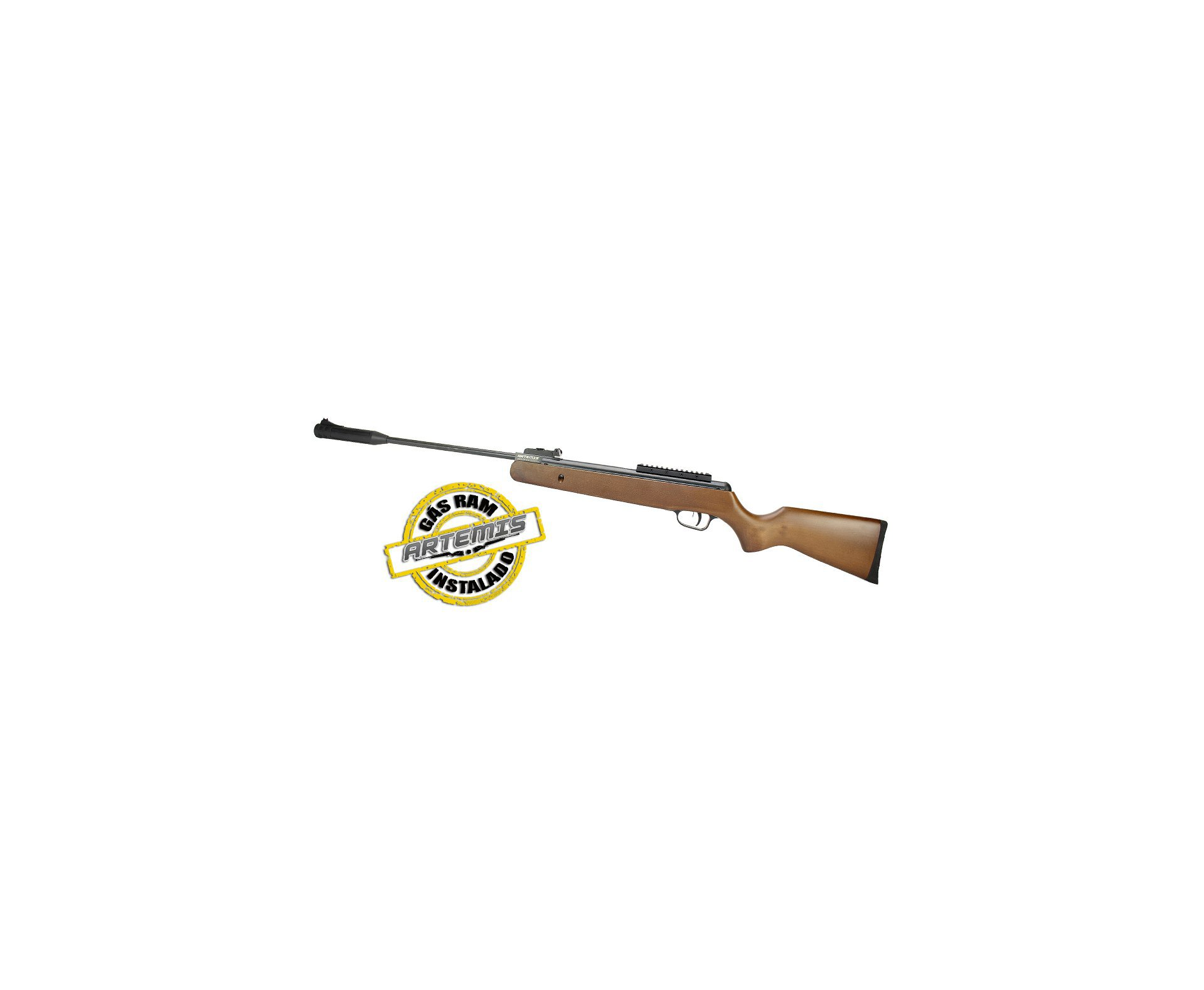 Carabina De Pressão Black Hawk Wood Edition Gas Ram 70kg 5.5mm Artemis + Luneta + Capa + 2 Chumbinho