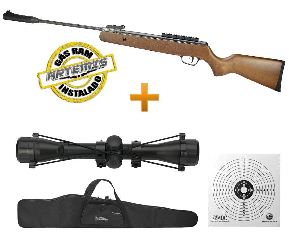 Carabina De Pressão Black Hawk Wood Edition Gas Ram 70kg 5.5mm Artemis + Capa + Luneta 4x32