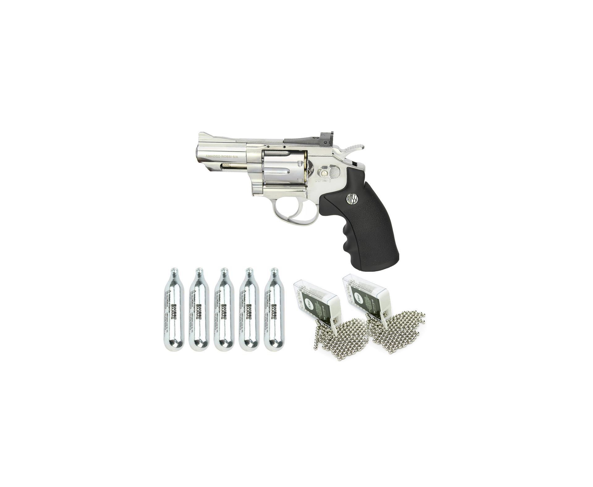 """Revólver De Pressão Co2 Full Metal Rossi Niquelado 708s 2,5"""" 4,5mm + Bbs Aço + Co2"""
