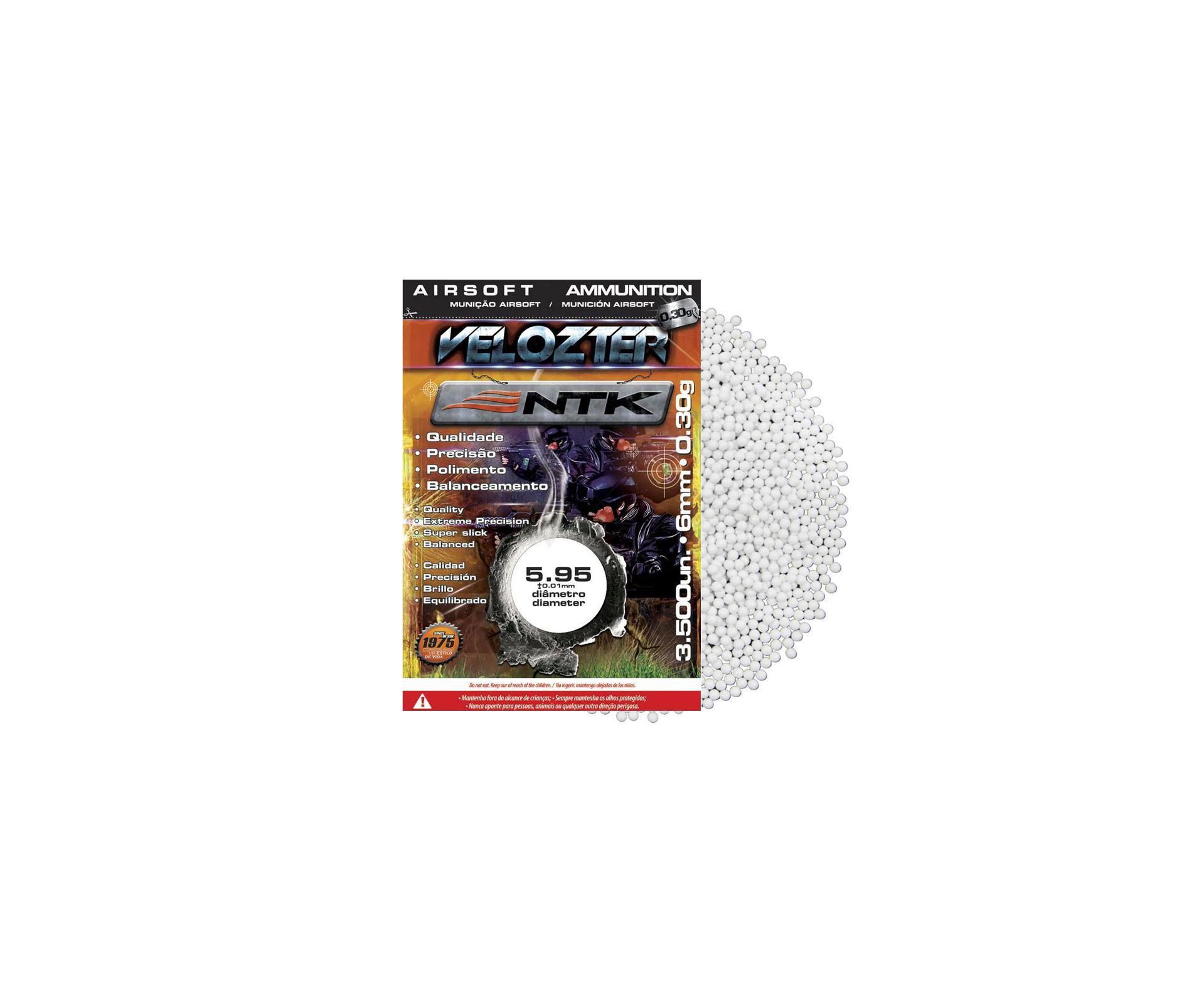 Esfera Munição Bbs Para Airsoft Velozter 0,30 Com 3500unds - Ntk