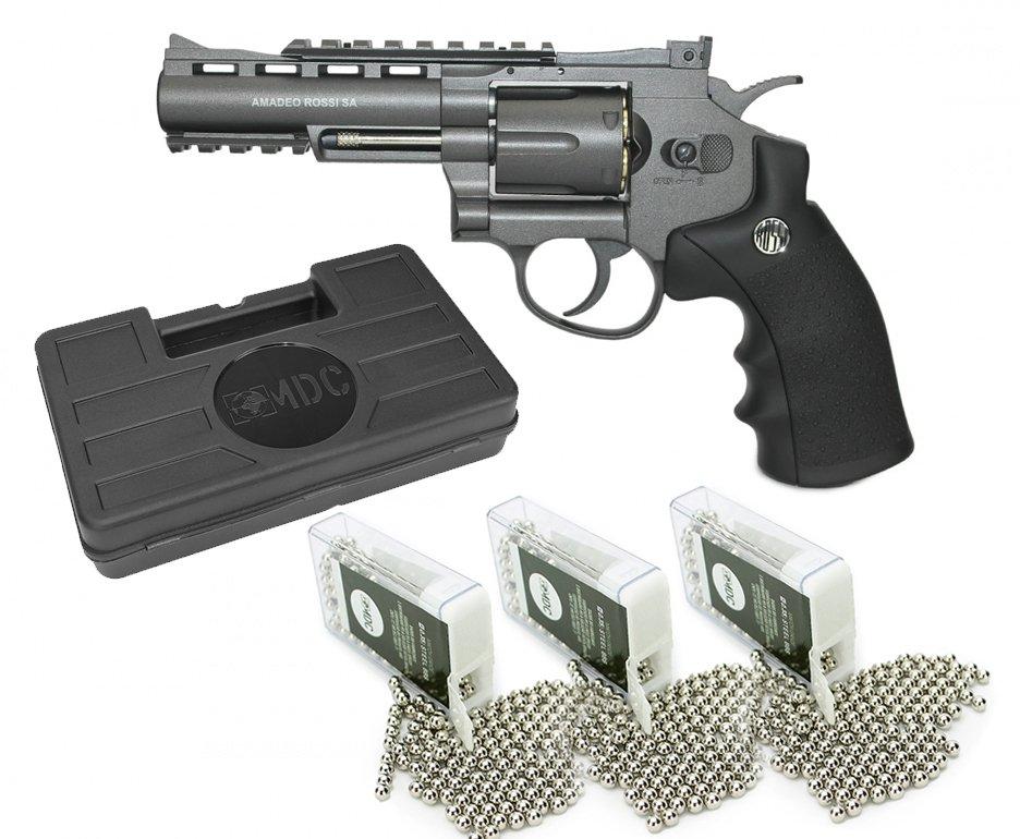 """Revolver 38 De Pressão Gas Co2 6 Tiros 4"""" Oxidado Rossi Full Metal M701 4,5mm Wingun + Case + Esferas Bbs Steel"""