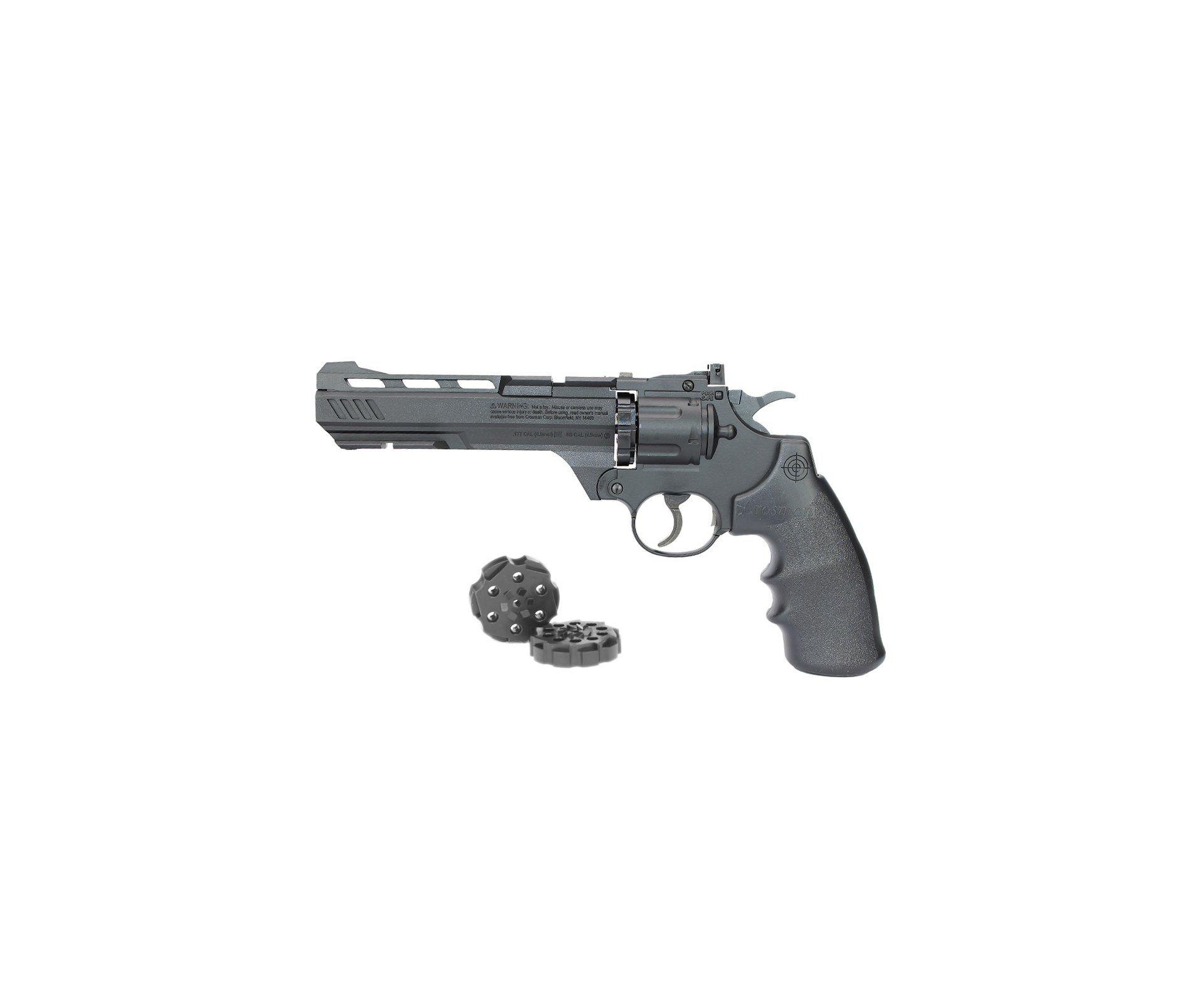 """Revólver De Pressão Co2 Vigilante 6"""" Crosman Dual Ammo 4,5mm + Co2 + Bbs + Chumbinho"""