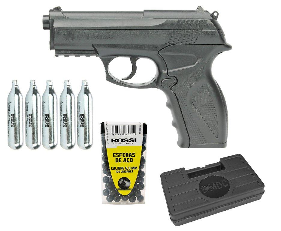 Pistola De Pressão Co2 C11 Esferas Aço 6mm Win Gun + Bbs Aço + Co2 + Case