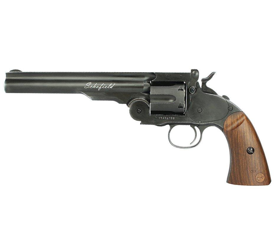 """Revólver De Pressão Full Metal Co2 Colt .45 Schofield 6"""" 6 Tiros Esferas De Aço 4,5mm Asg"""