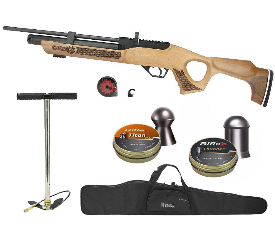 Carabina De Pressão Pcp Hatsan Flash Wood Calibre 6.35mm + Bomba + Capa + Chumbinho