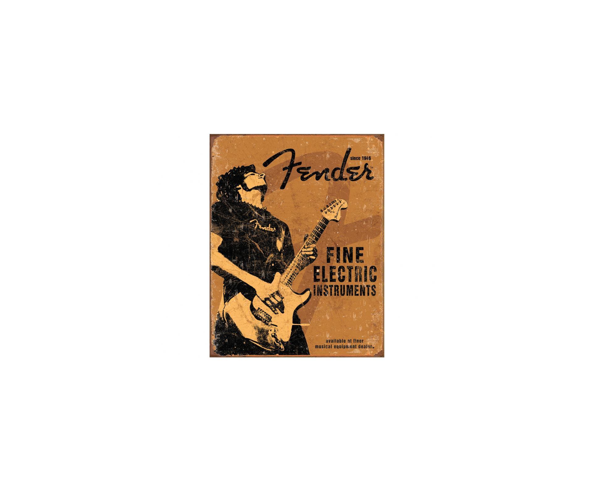 Placa Metálica Decorativa Fender Fine - Rossi