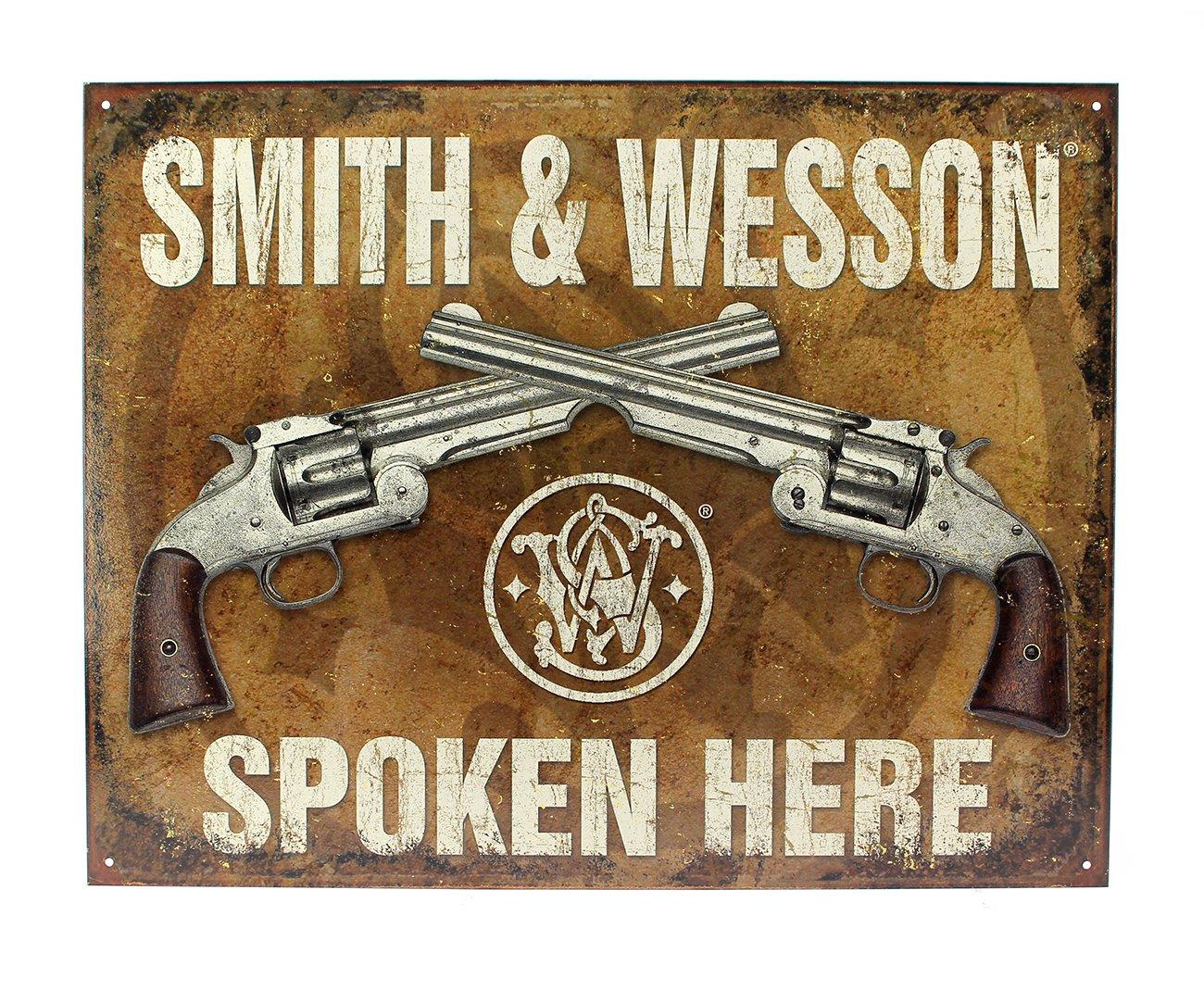 Placa Metálica Decorativa Smith & Wesson Spoken Here - Rossi