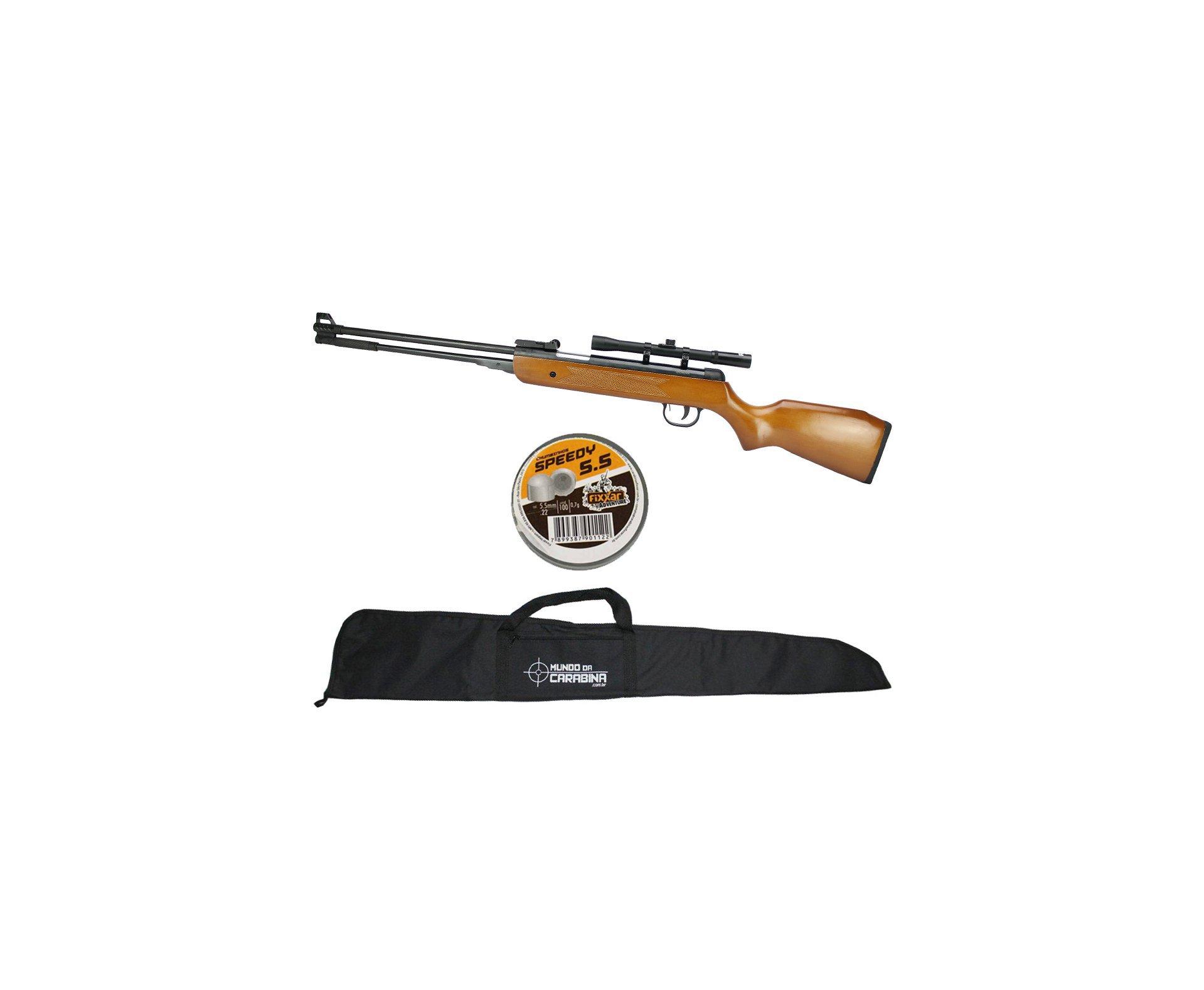 Carabina De Pressão Under-b Wf600 Cal 5,5mm Wood - Qgk Spa + Luneta 4x20 + Capa + Chumbinho